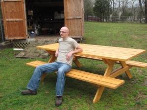 My good lookin husband with his good lookin table