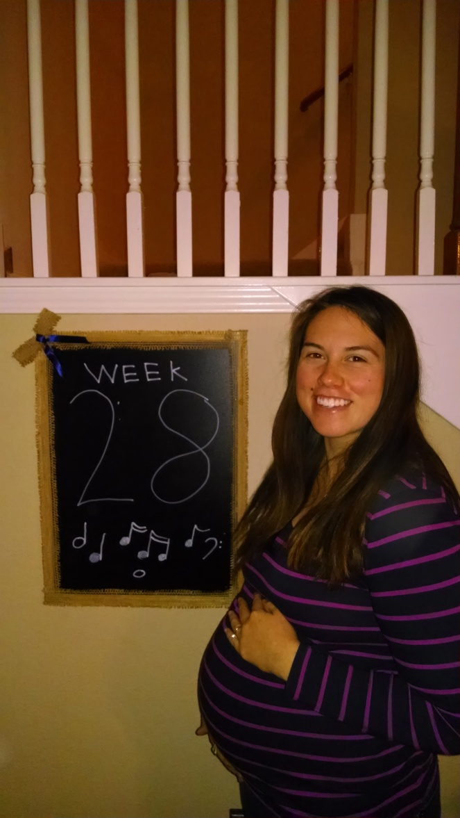 Thanks to my brother, Noah, for the chalkboard masterpiece this week!  28 weeks, 4 days.