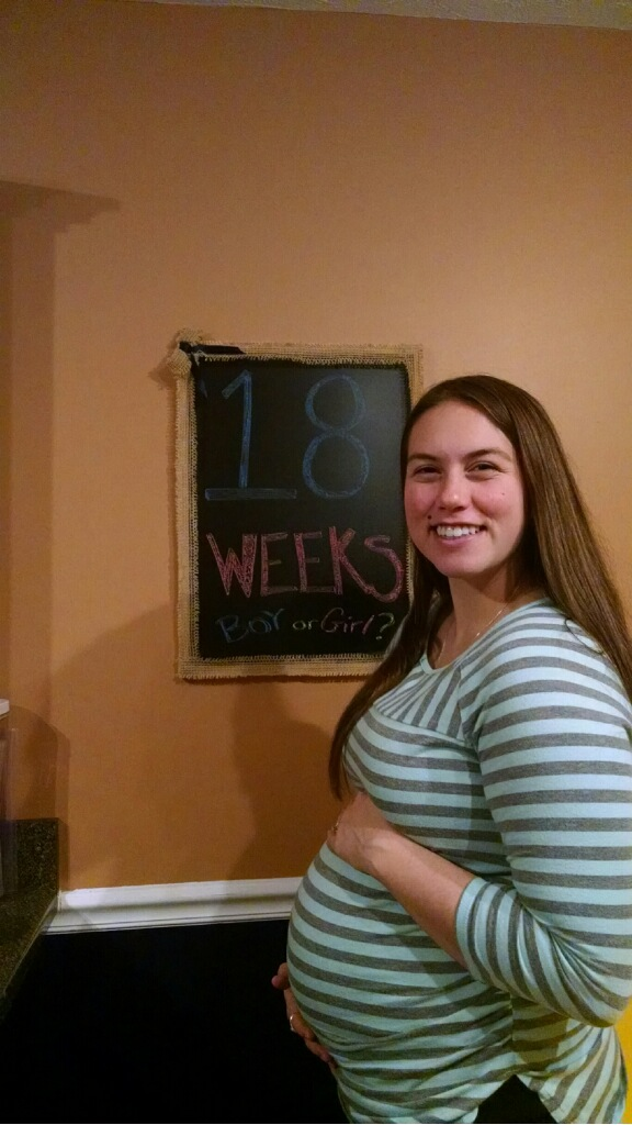 18 weeks, 1 day!  Thanks to Nat for the chalk board art :)